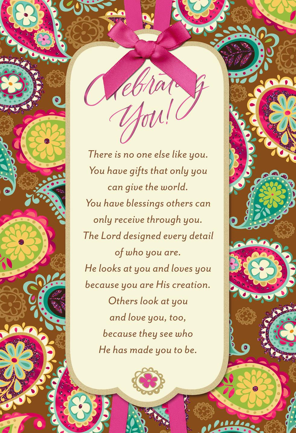 Bright Paisley Pattern Religious Birthday Card for Her Greeting – Birthday Cards Religious