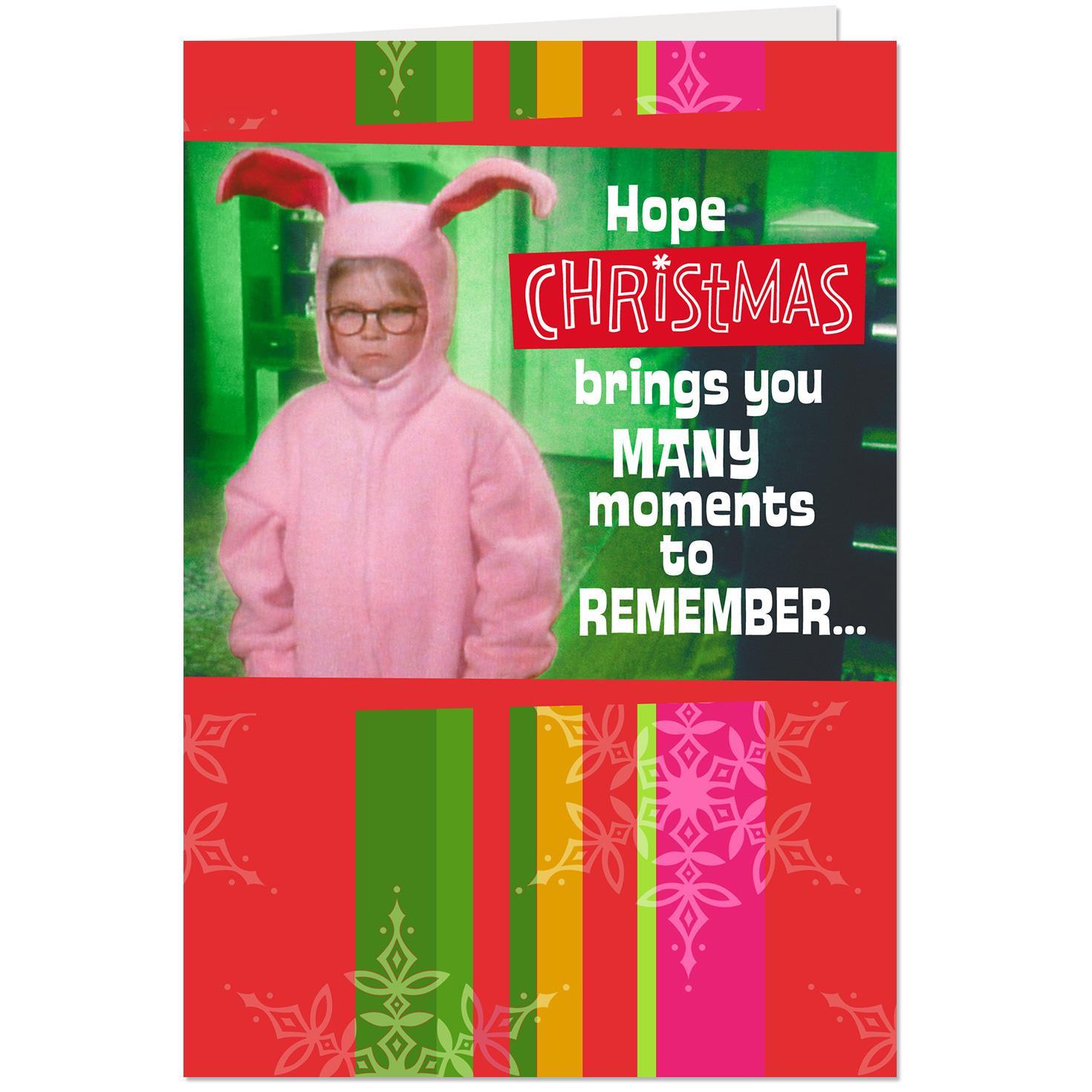 a christmas story ralphies pink bunny pajamas christmas card - A Christmas Story Bunny