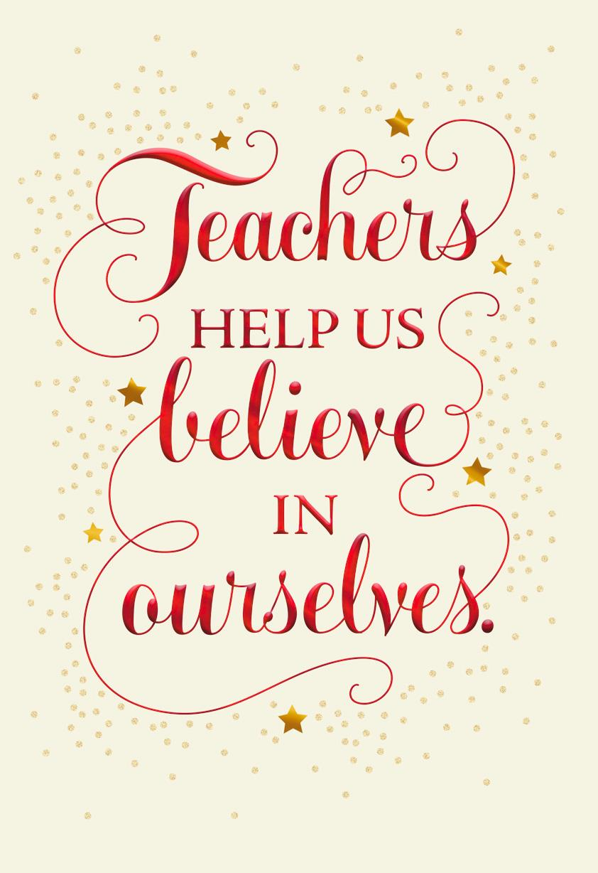 Believe In Yourself Christmas Card For Teacher Greeting Cards