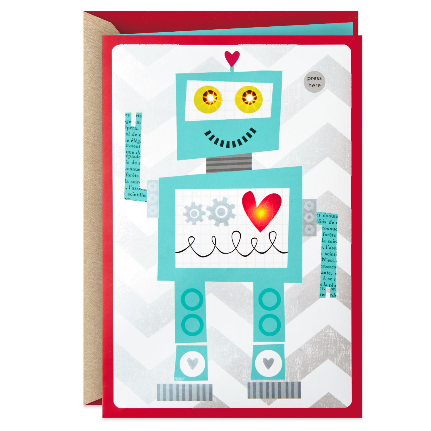 robot valentine's day card for kids with sound  greeting