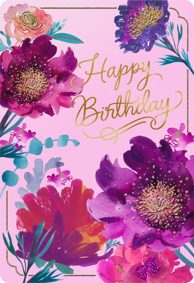 Purple Flowers Jumbo Birthday Card 1625