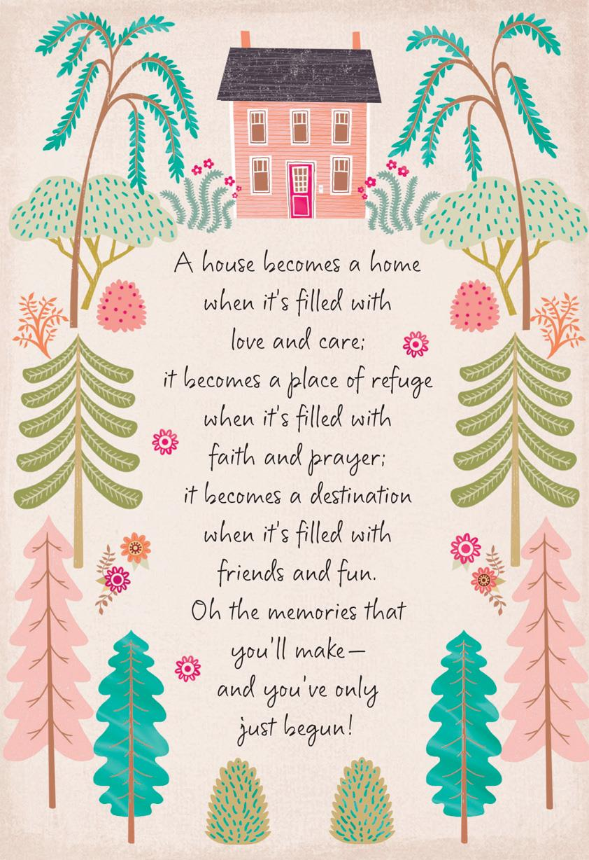 pink house religious new home congratulations card greeting cards