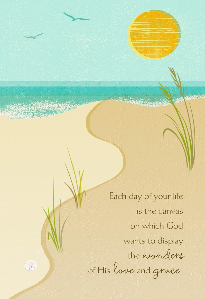 Beach Blessings Speechless Religious Birthday Card Greeting Cards