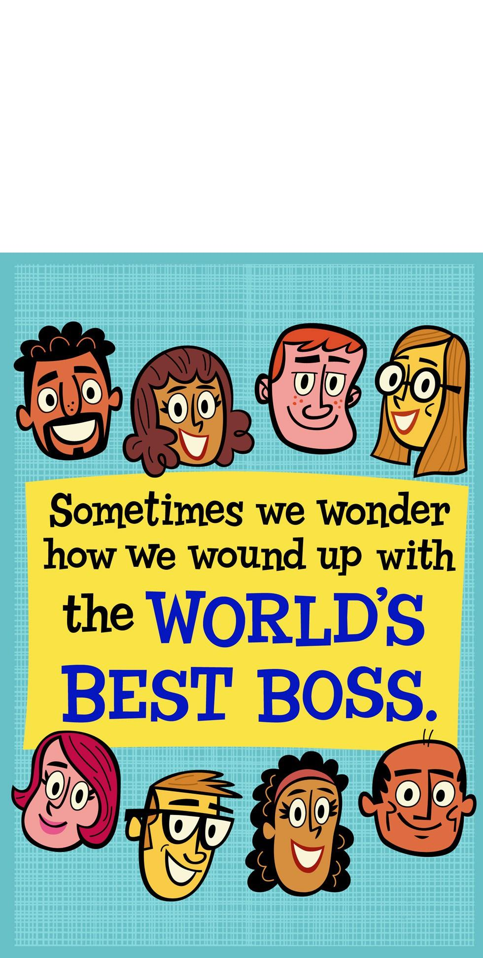 Worlds Best Boss And Employees Funny Bosss Day Card From Us
