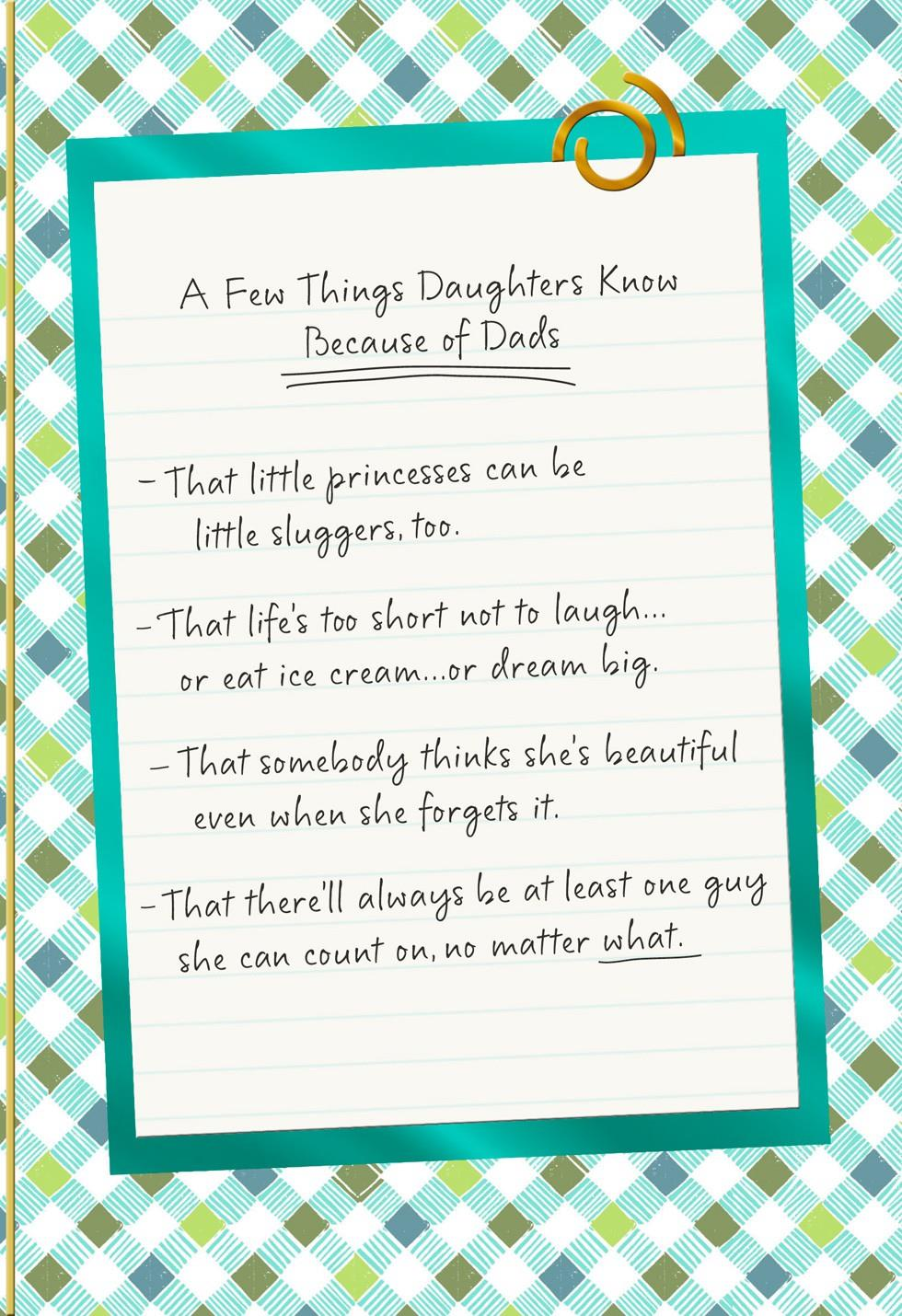 List Of Things Dads Teach Daughters Fathers Day Card Greeting