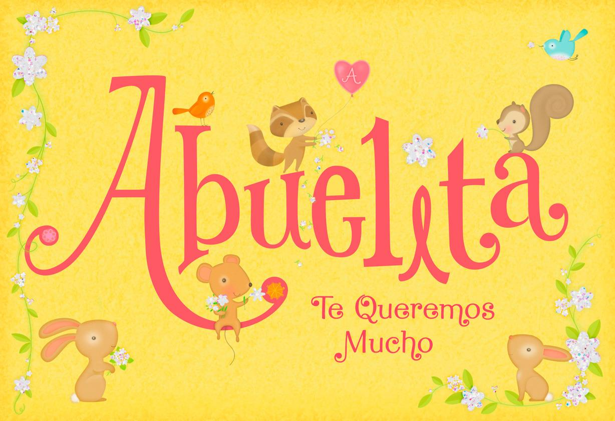 Little Animals Spanish Language Mothers Day Card For Grandma