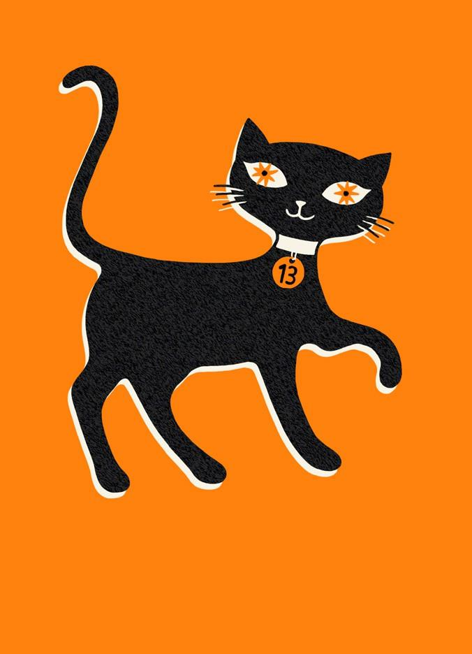 lucky black cat halloween card - greeting cards