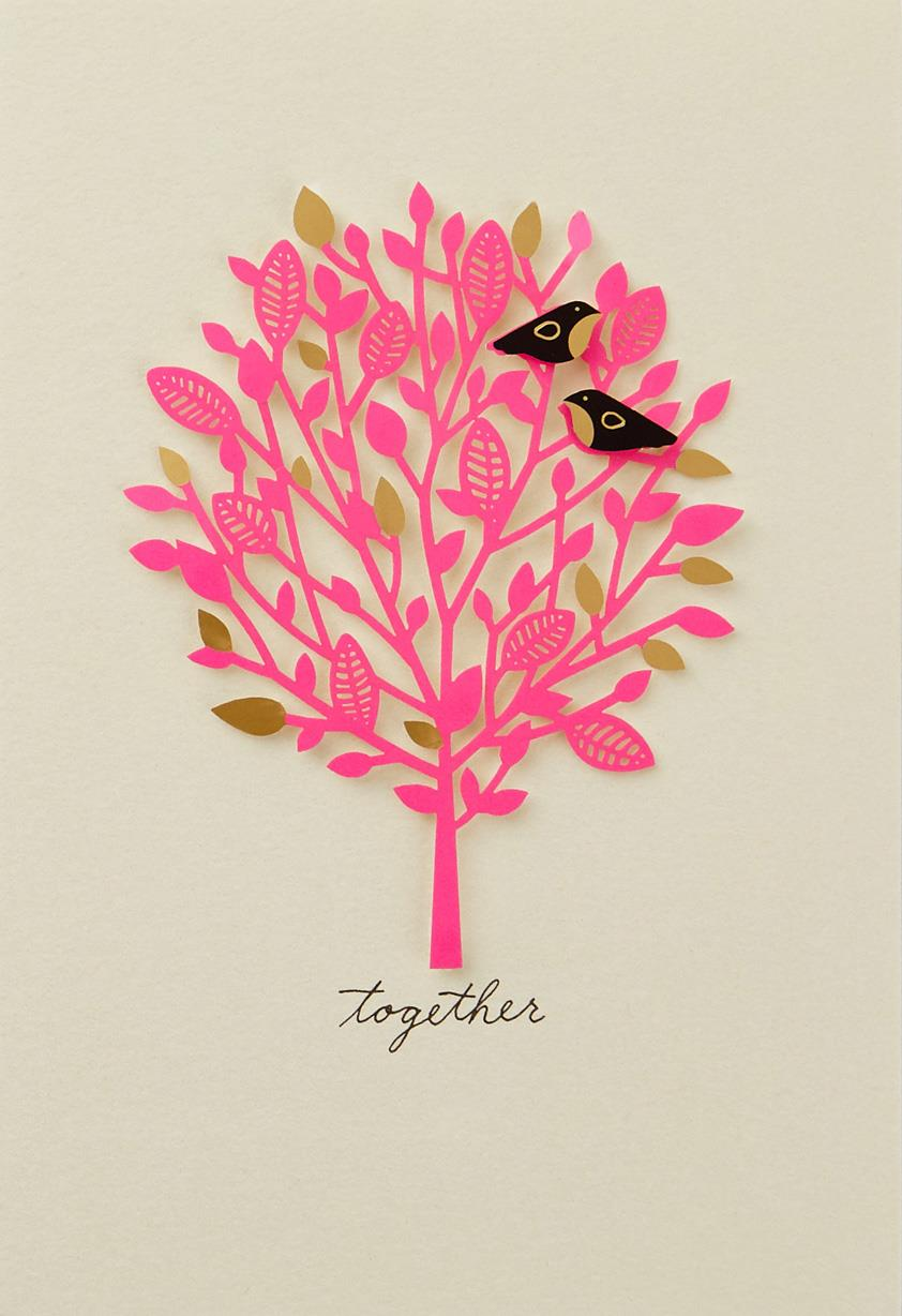 Lovebirds together anniversary card greeting cards