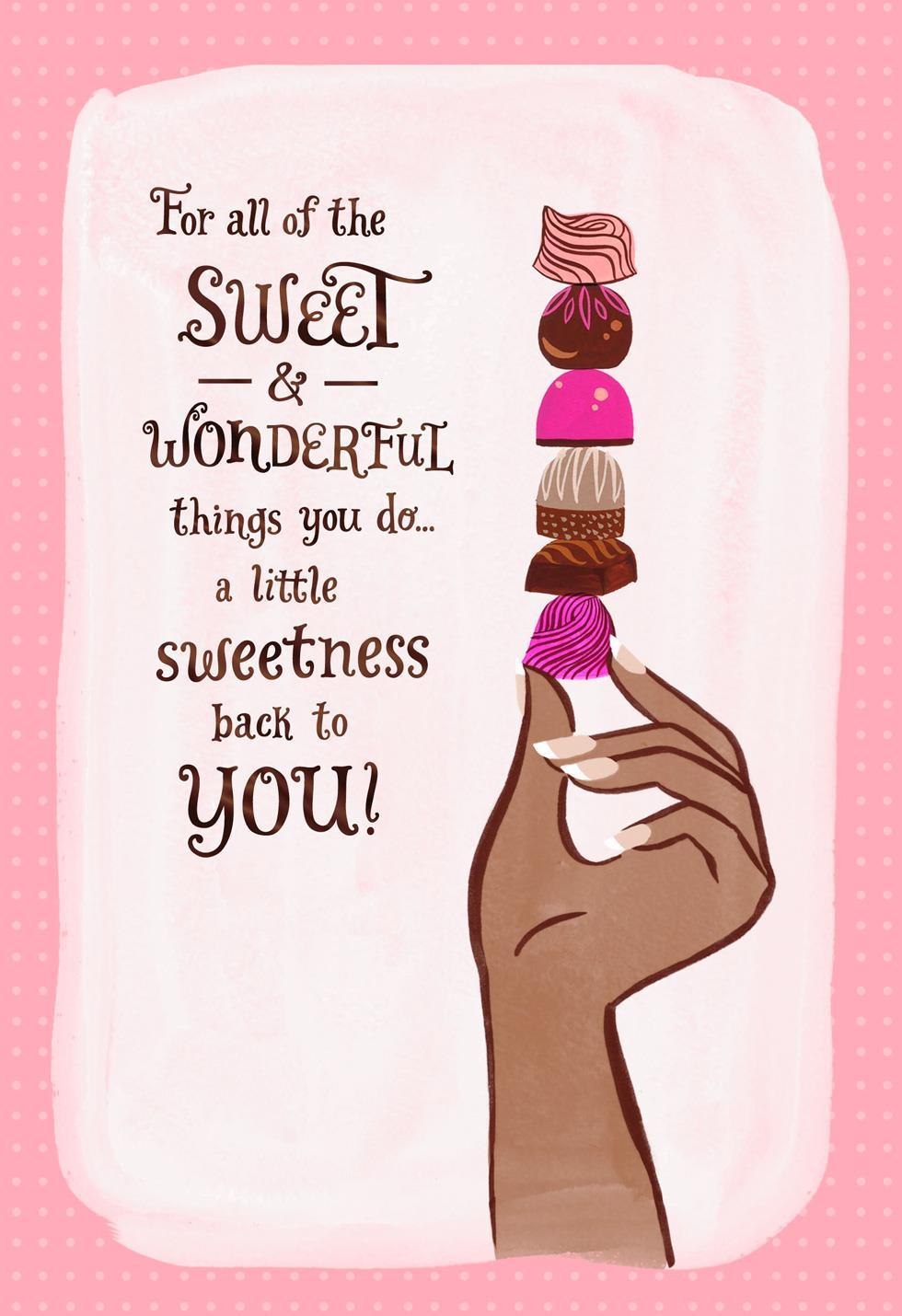 chocolate candy thank you card  greeting cards  hallmark