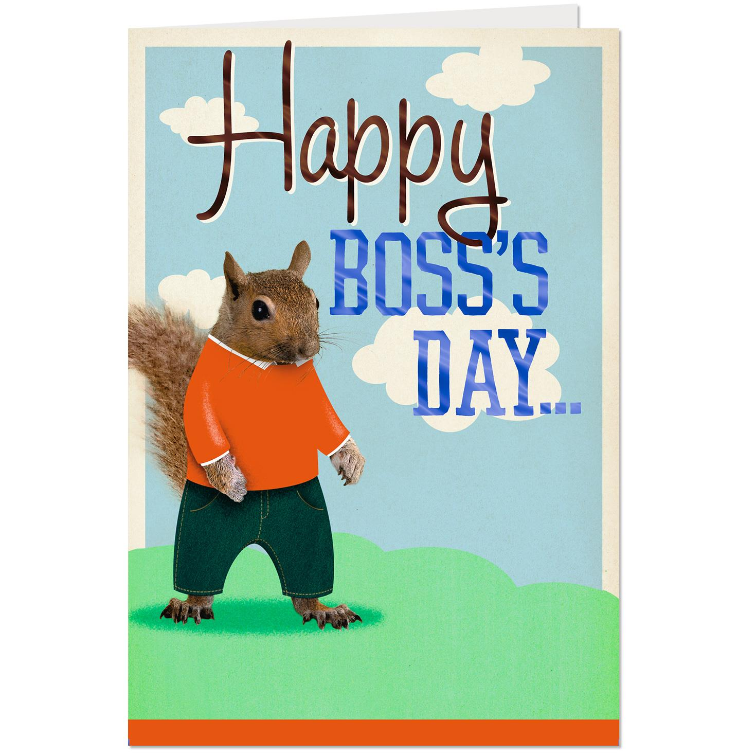 Squirrel And Nuts Funny Pop Up Bosss Day Card From Us Greeting