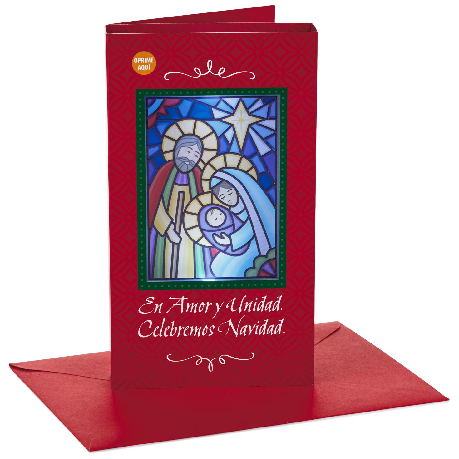 Stained Glass Nativity Spanish-Language Musical Christmas Card With ...
