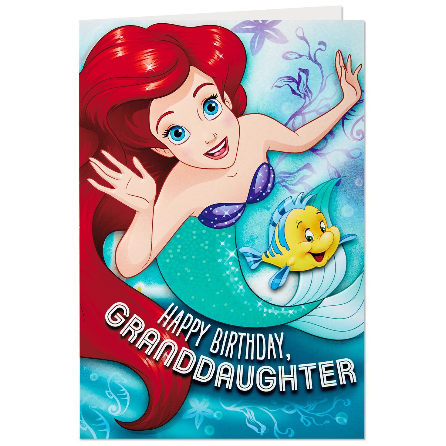 Disney The Little Mermaid Birthday Card For Granddaughter