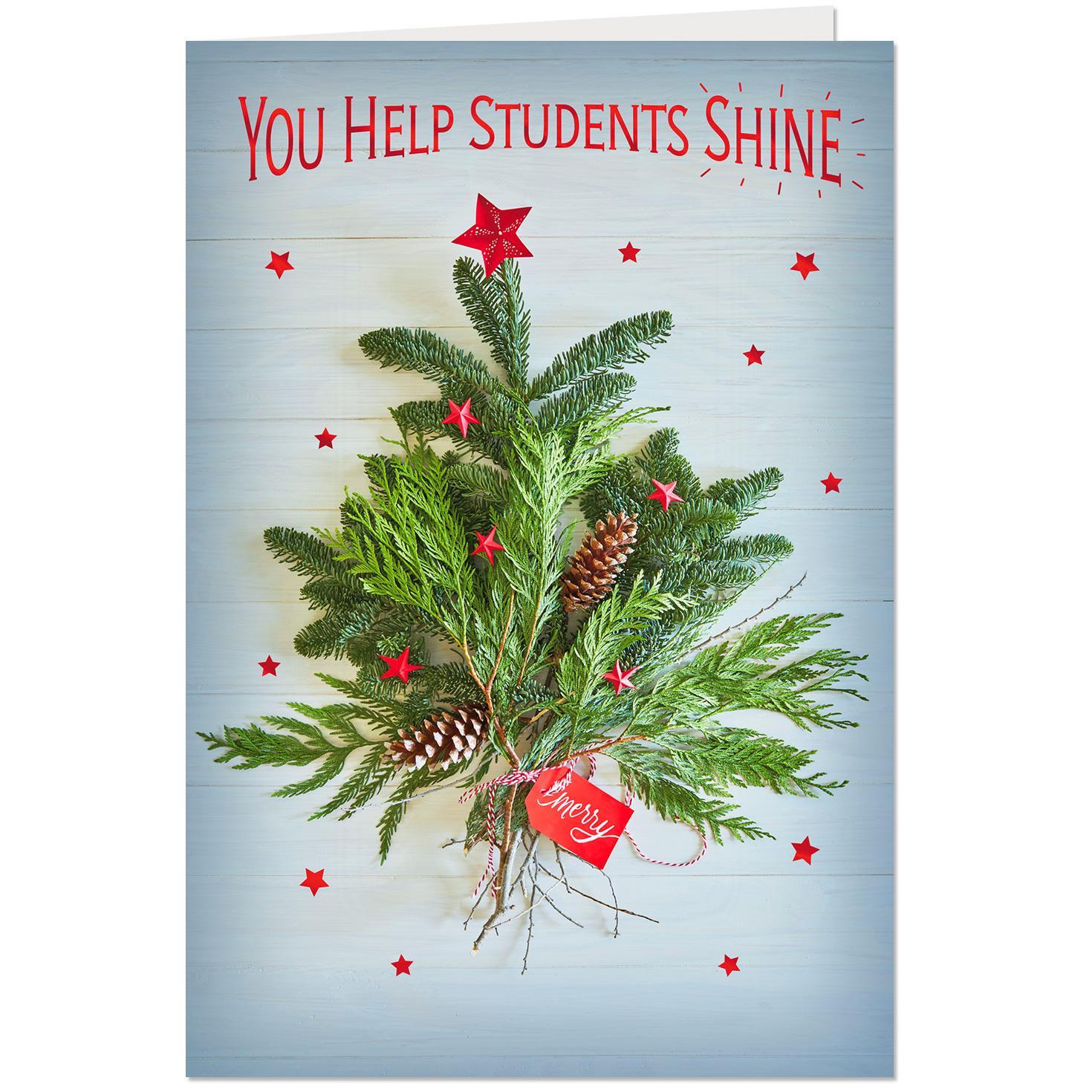 you shine thank you christmas card for teacher