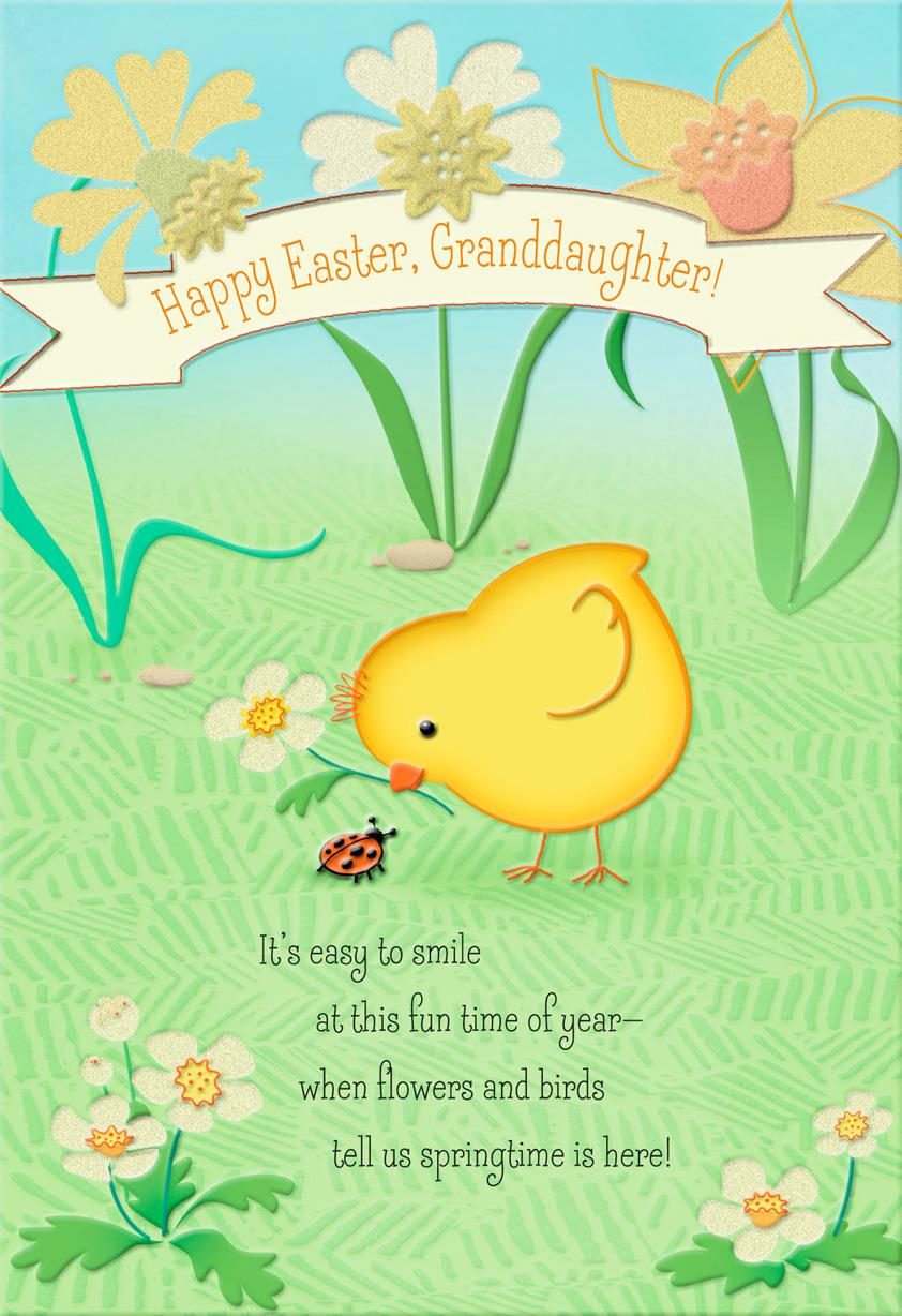 Chick And Ladybug Religious Easter Card For Granddaughter