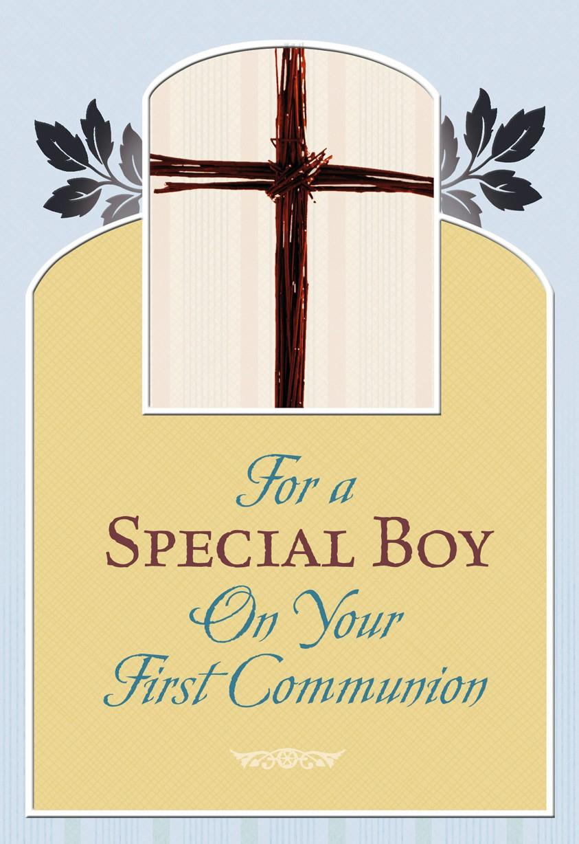 Boy First Communion Cross And Leaves Greeting Cards