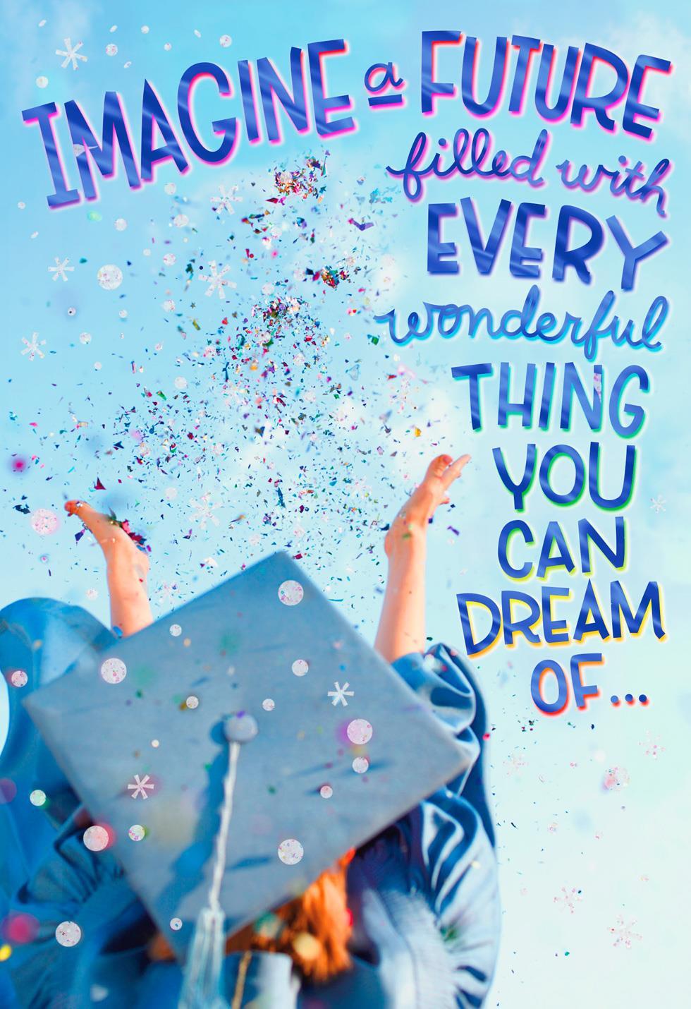 confetti swirls and dreams graduation card  greeting