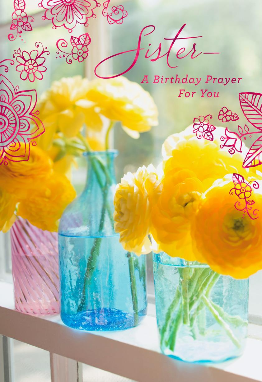 Flowers And Doodles Religious Birthday Card For Sister Greeting