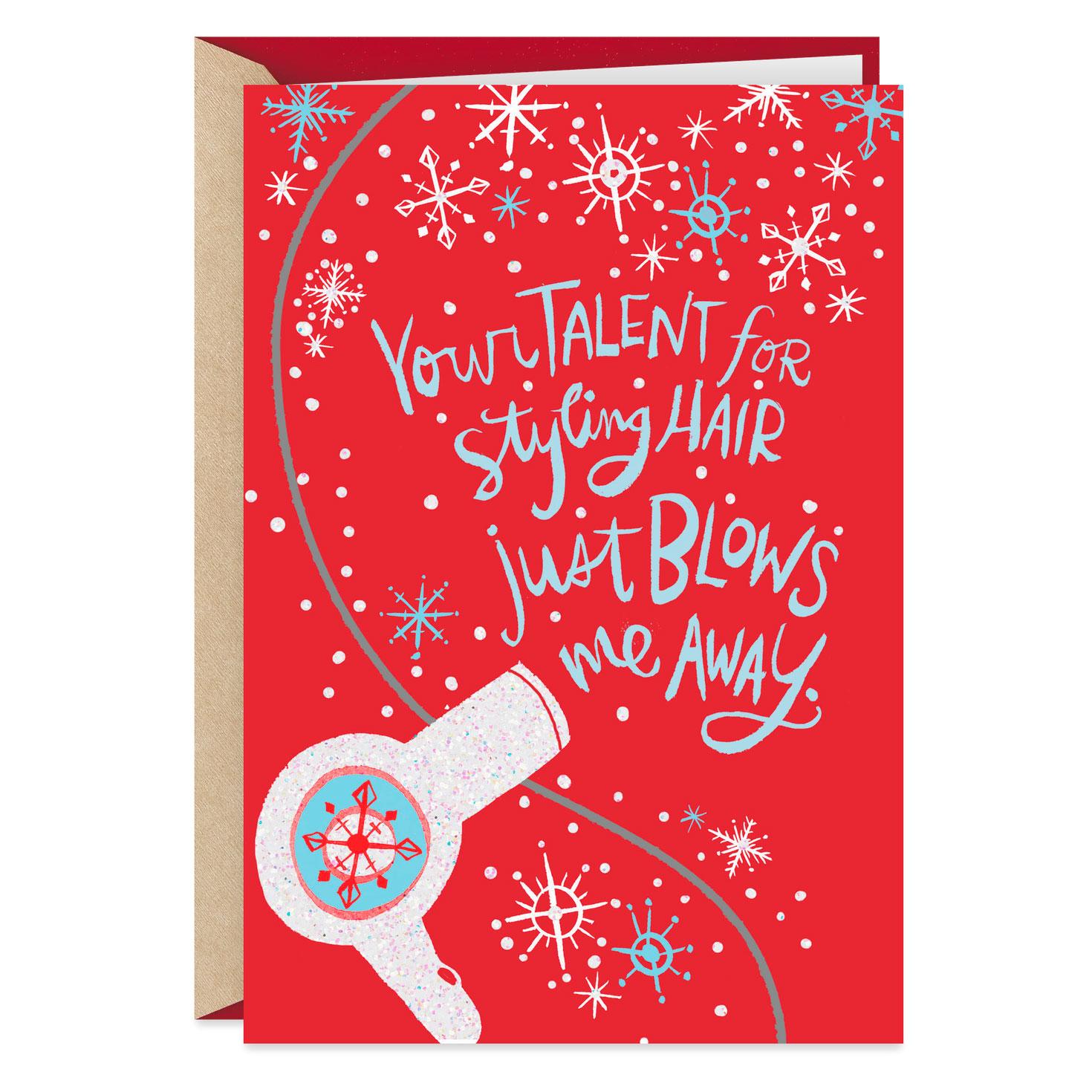 White Glitter Blow Dryer Christmas Card For Hairdresser