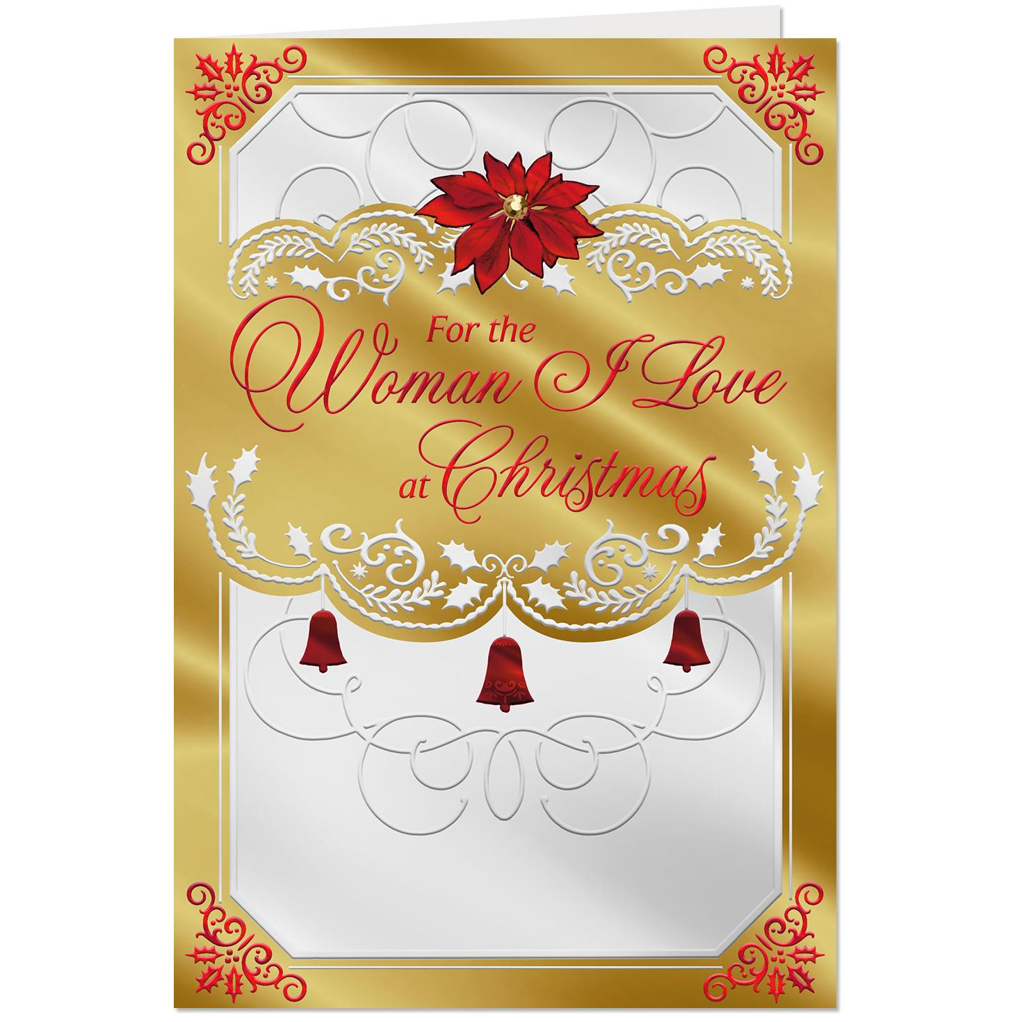 Red Bells And Garland Christmas Card For The Woman I Love Greeting