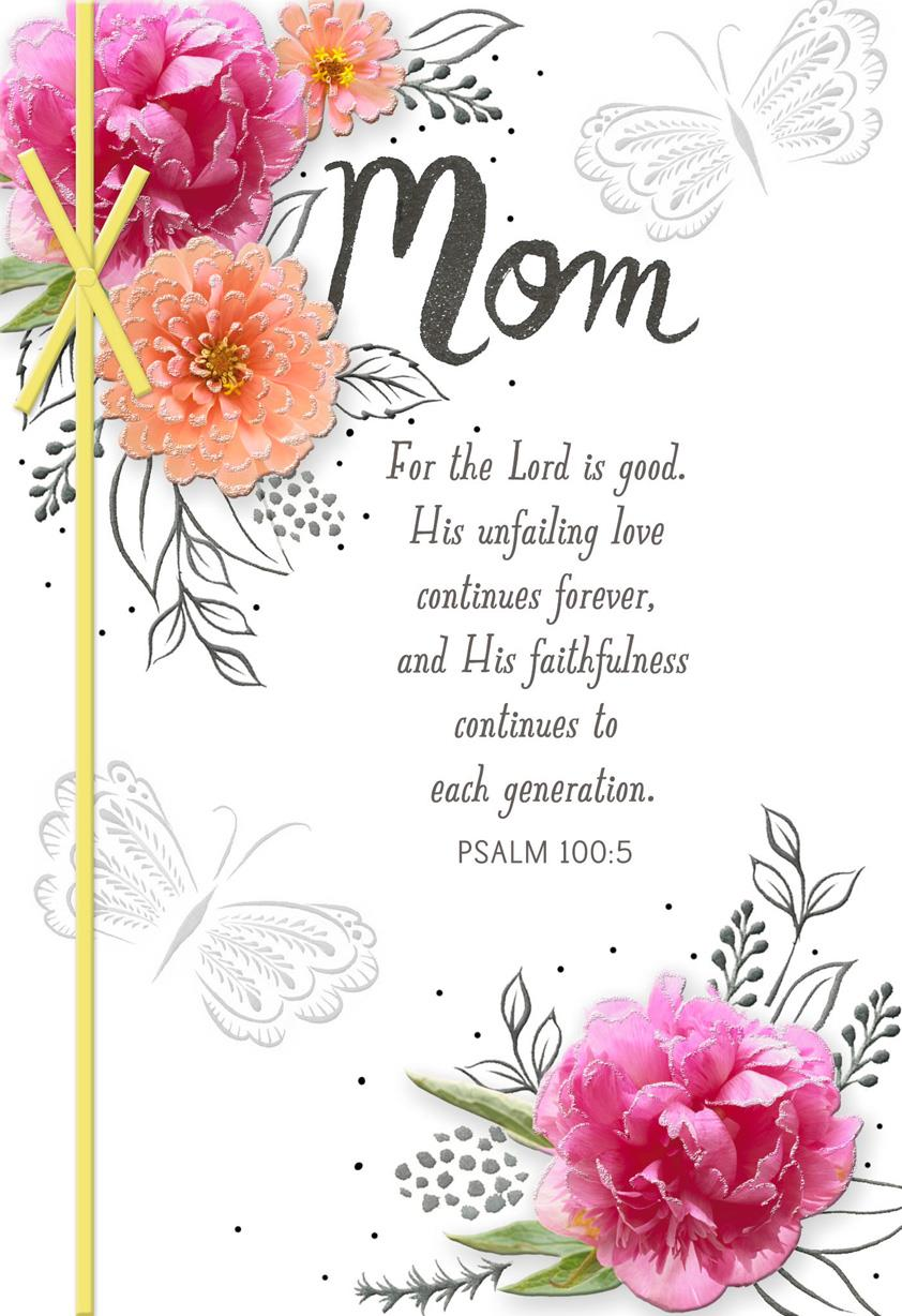 Spring Flowers Religious Easter Card For Mom Greeting