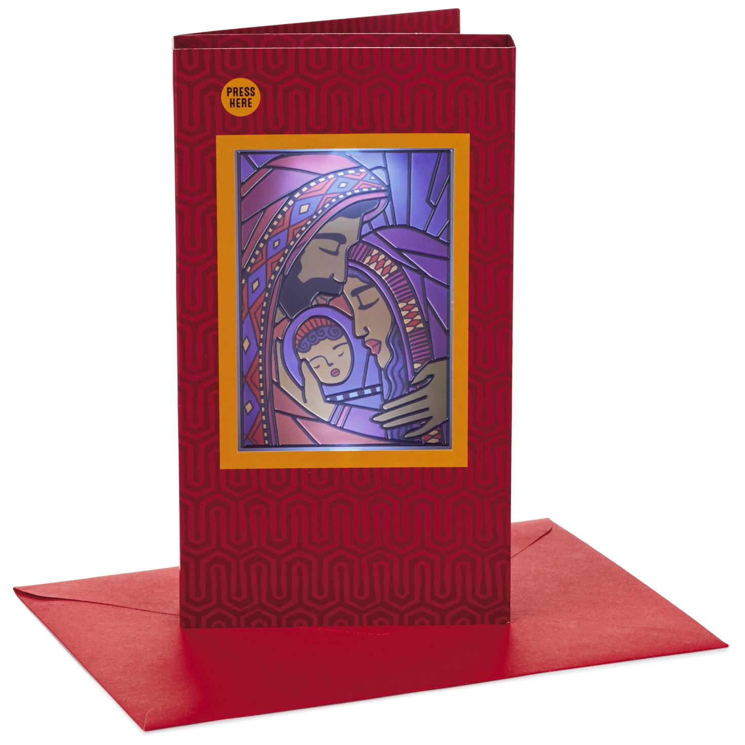 Stained Glass Nativity Musical Christmas Card With Light - Greeting ...