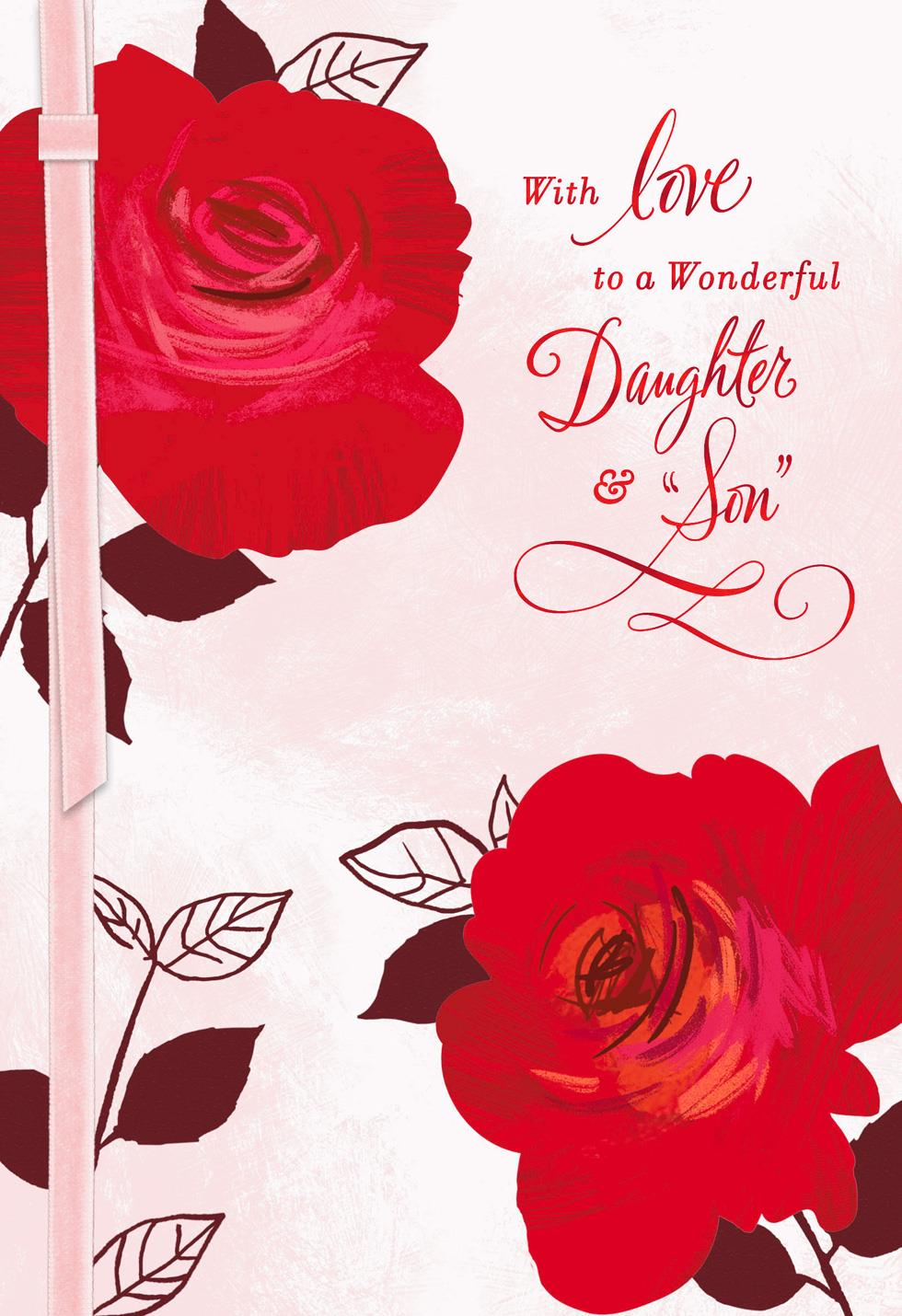 Two Roses Valentineu0027s Day Card For Daughter And Son In Law