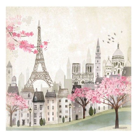 Paris Scene With Eiffel Tower Blank Card - Greeting Cards ...
