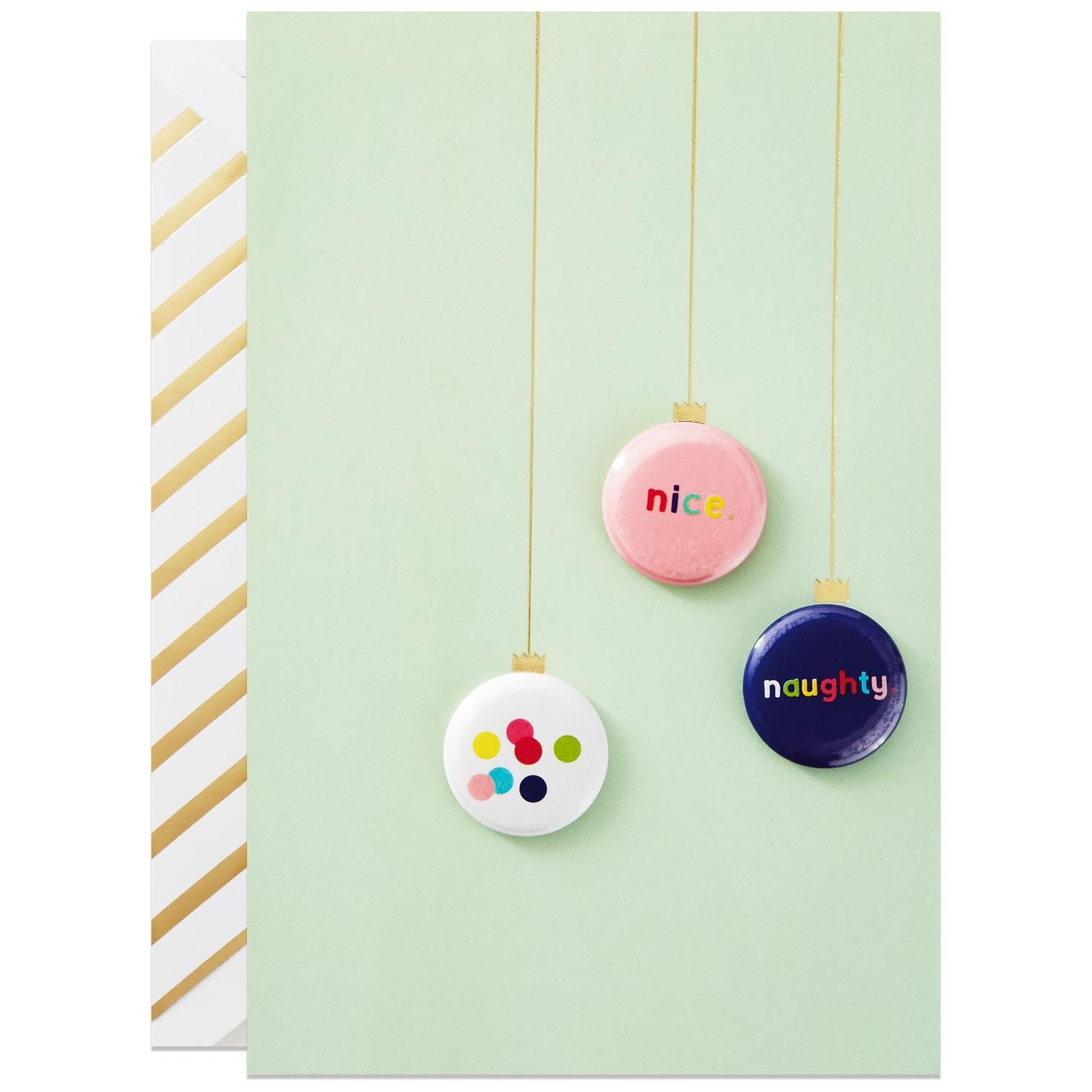 Nice and Naughty Christmas Card With Wearable Pins Greeting