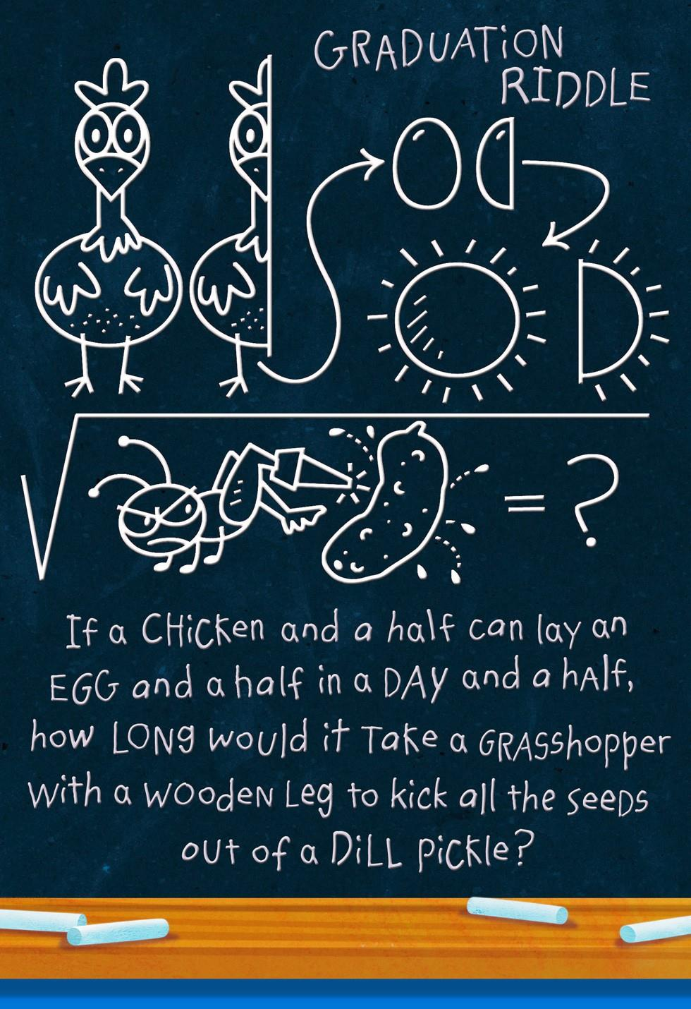 Chicken Riddle Chalkboard Funny Graduation Card Greeting