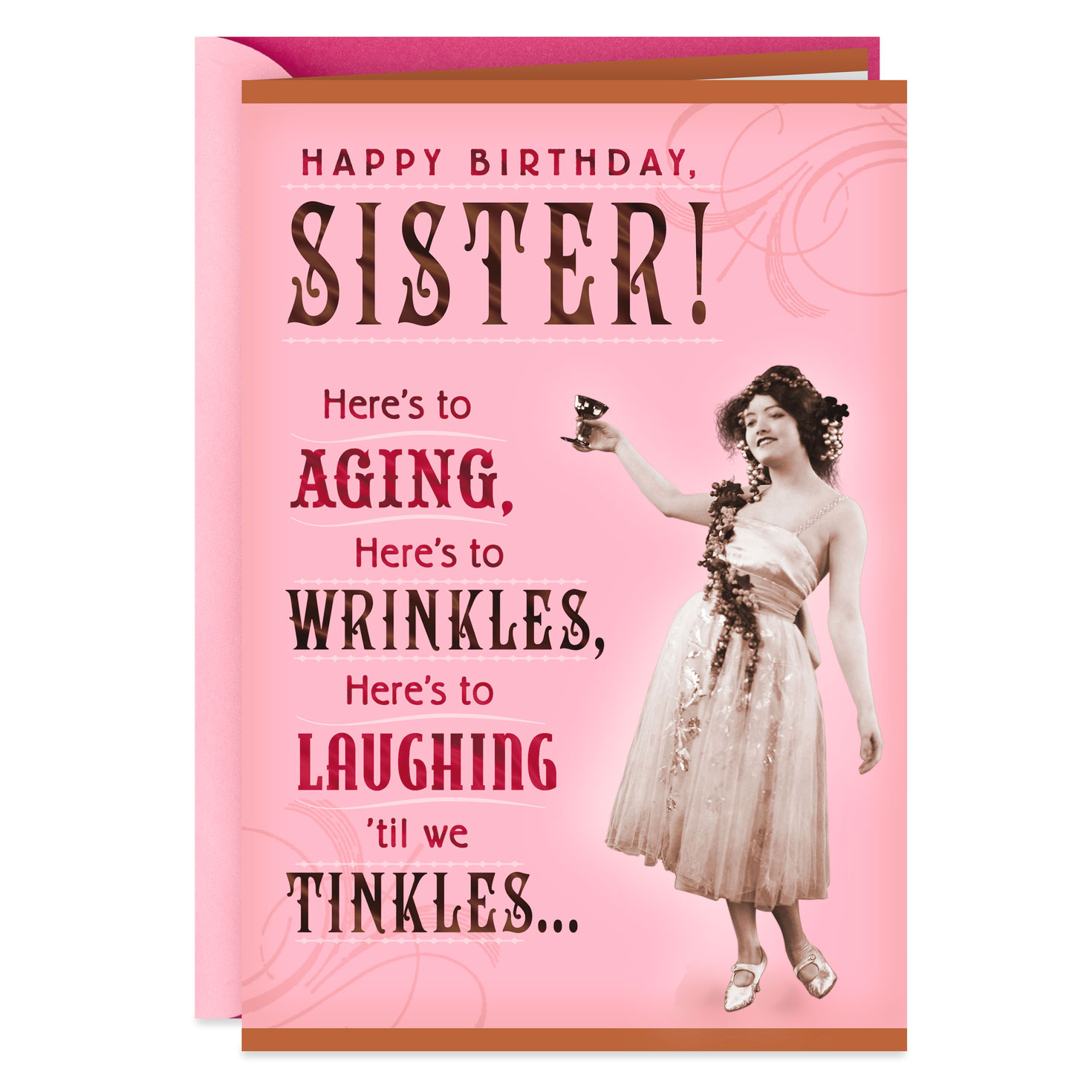wrinkles and tinkles sister birthday card  greeting cards