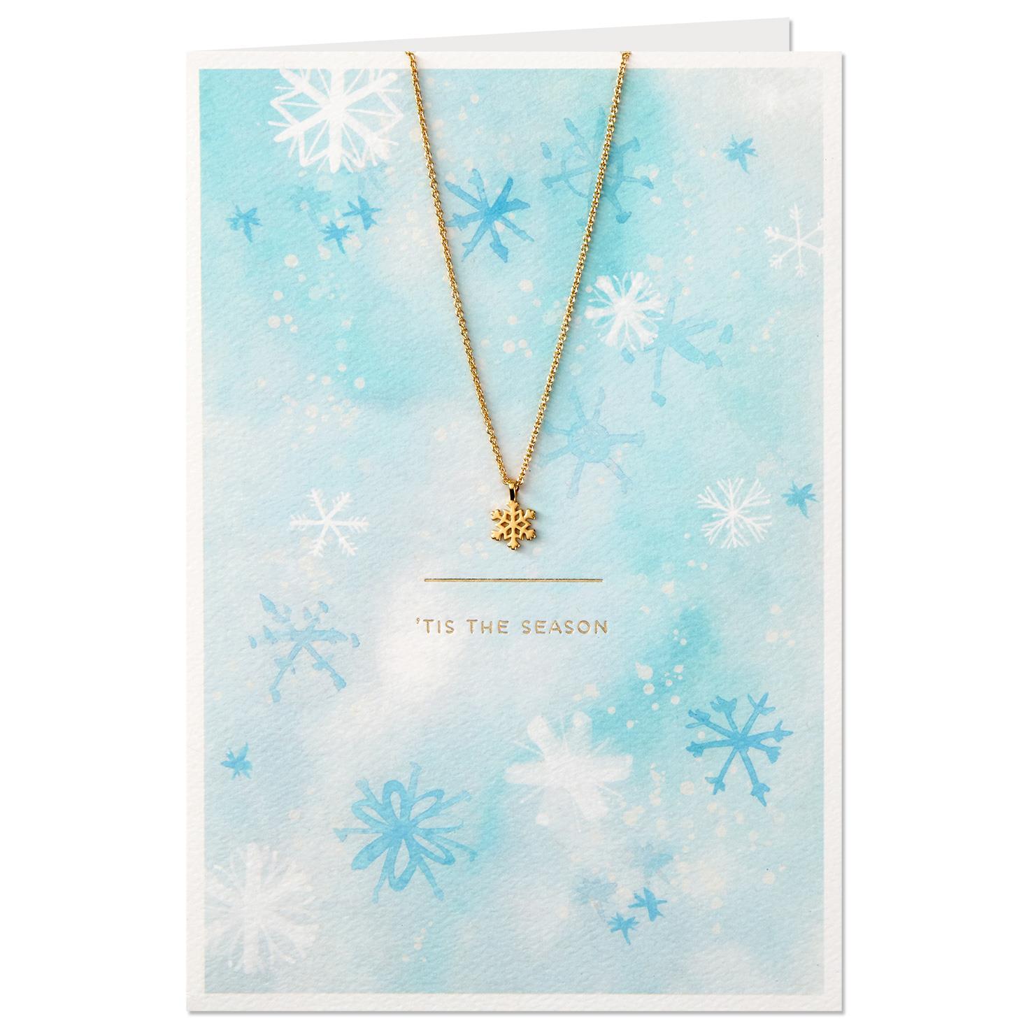 Tis The Season Christmas Card With Snowflake Charm