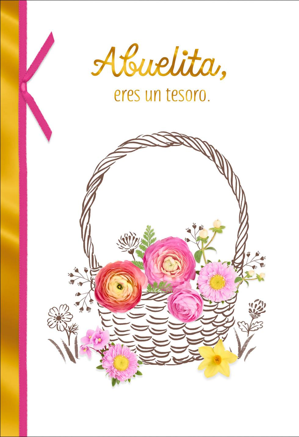 Flower Basket Spanish Language Birthday Card For Grandma