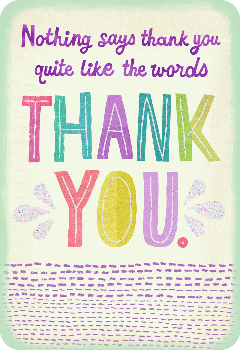 colorful letters simply said thank you card