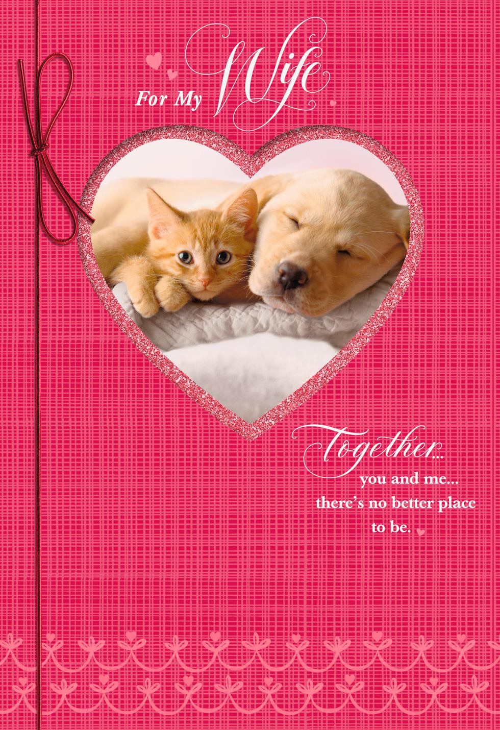 Dog And Cat Valentines Day Card For Wife   Cat Valentines Day
