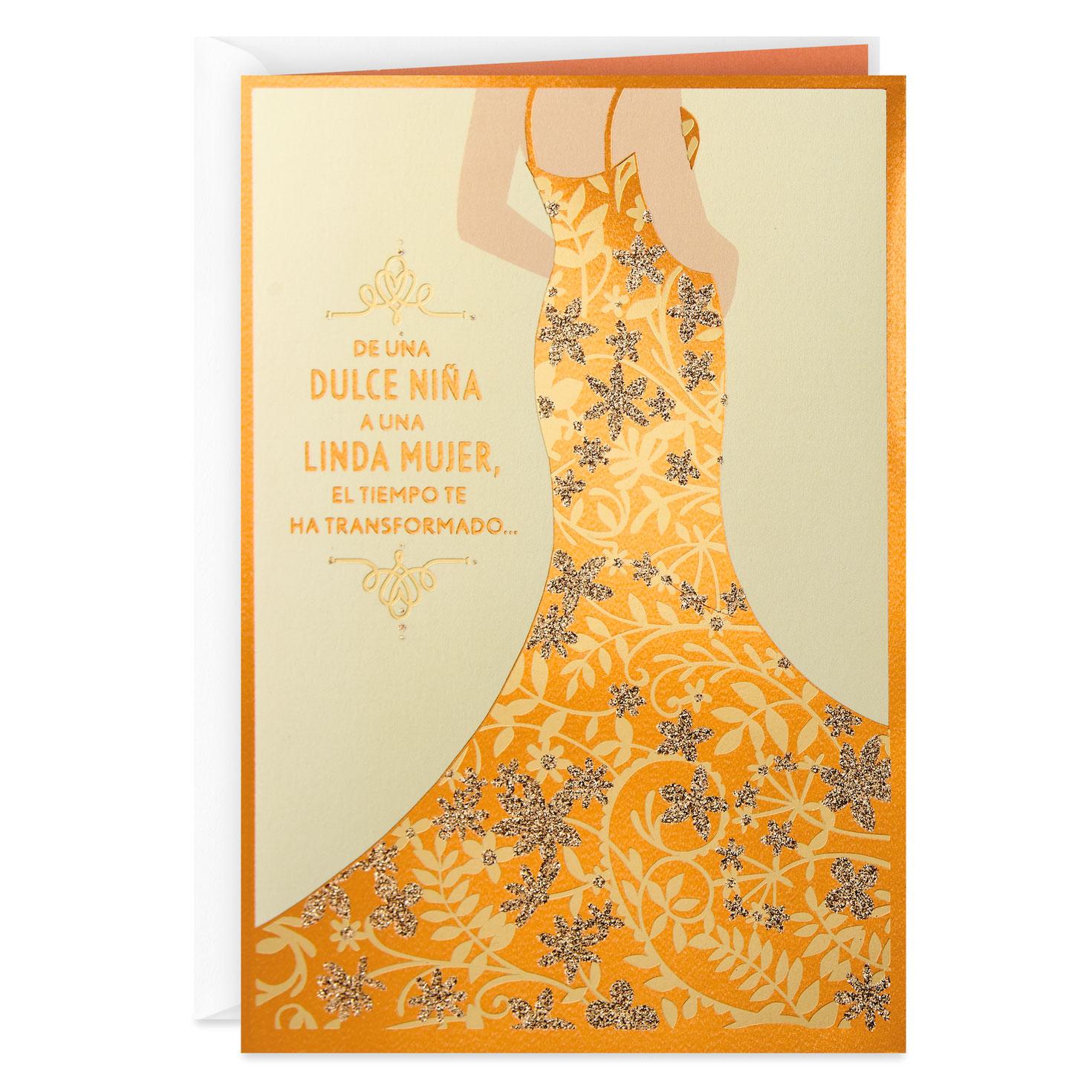 a beautiful young woman spanishlanguage quinceañera card