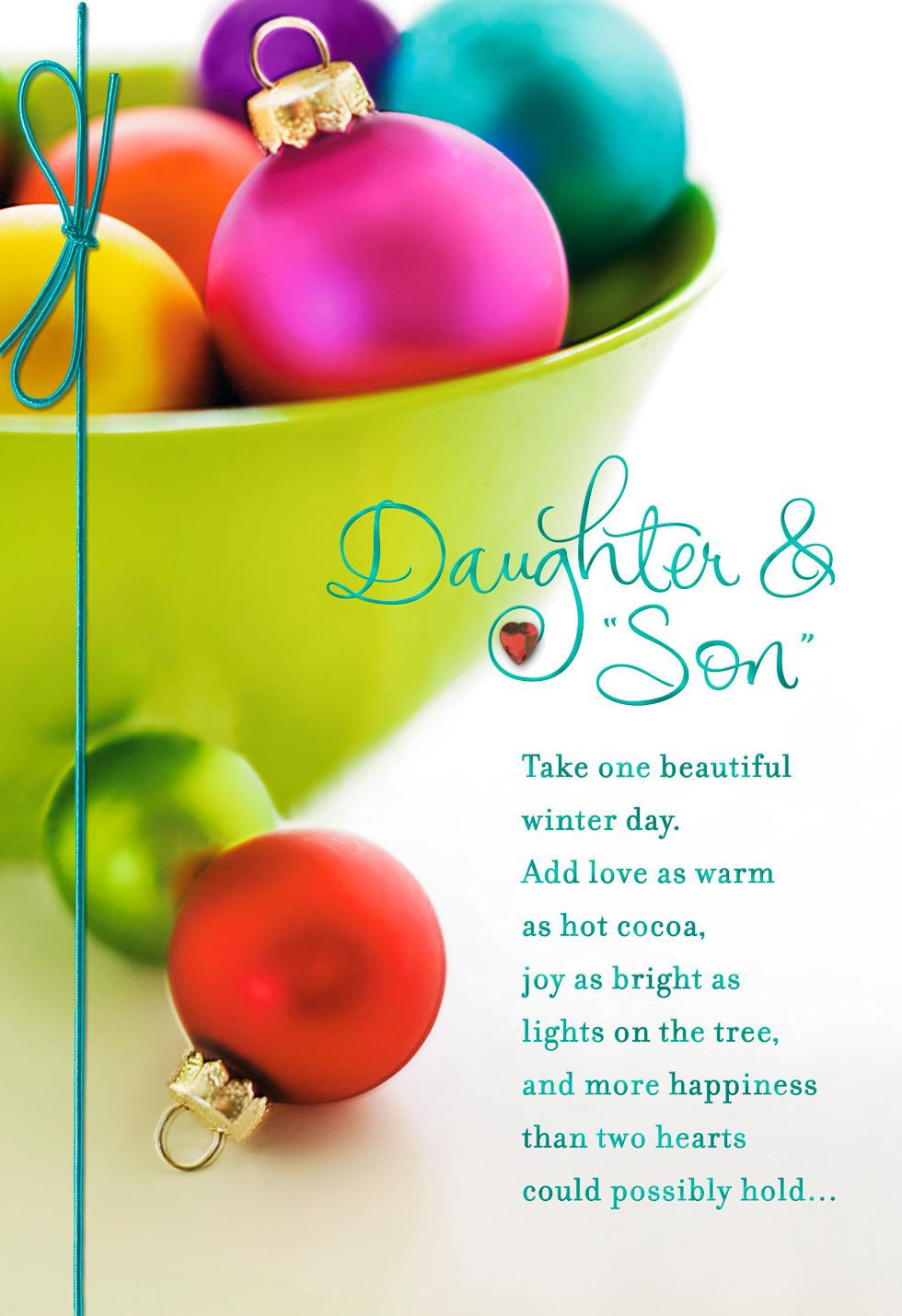 Colorful Ornaments Christmas Card For Daughter And Son In Law