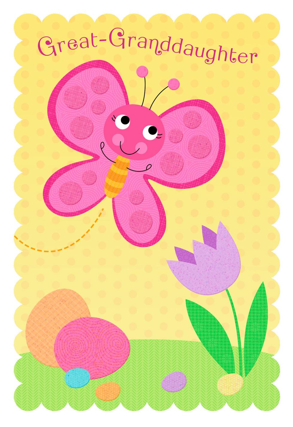 pink butterfly easter card for great