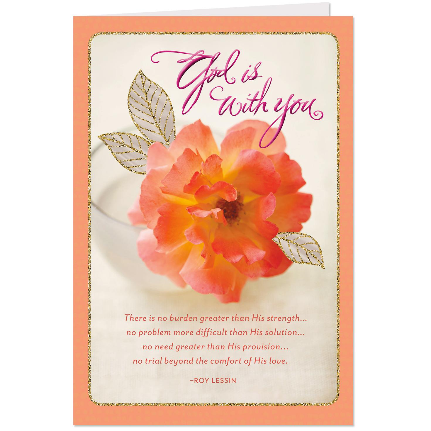 Pink Flower God Is With You Religious Get Well Card ...