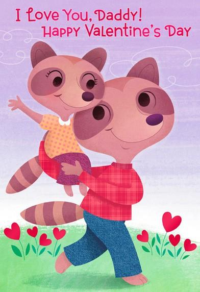 Daddy And Daughter Raccoons Valentineu0027s Day Card