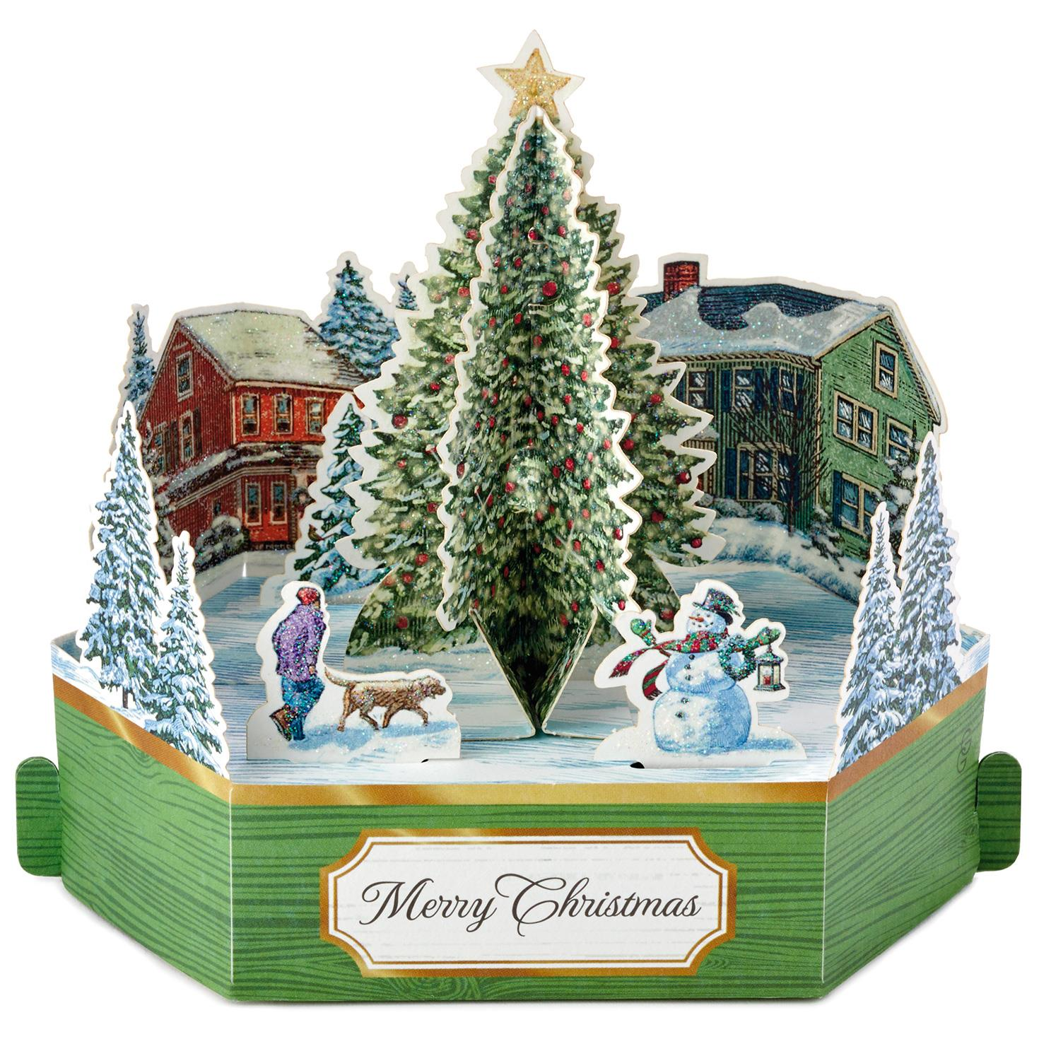 Merry Christmas Tree Mini Pop Up Christmas Card - Greeting Cards ...