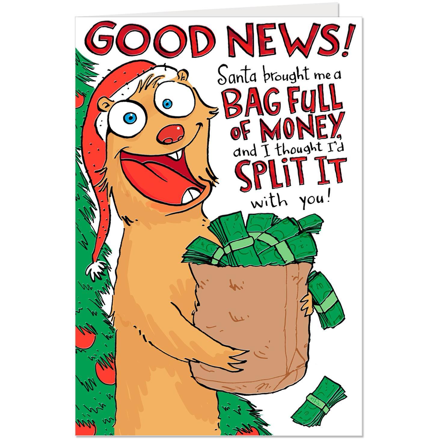 Split A Bag Full Of Money Funny Christmas Card