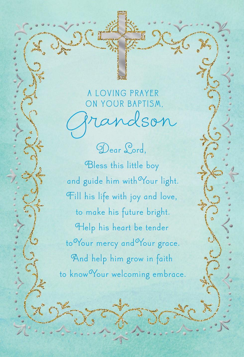 blue cross baptism card for grandson