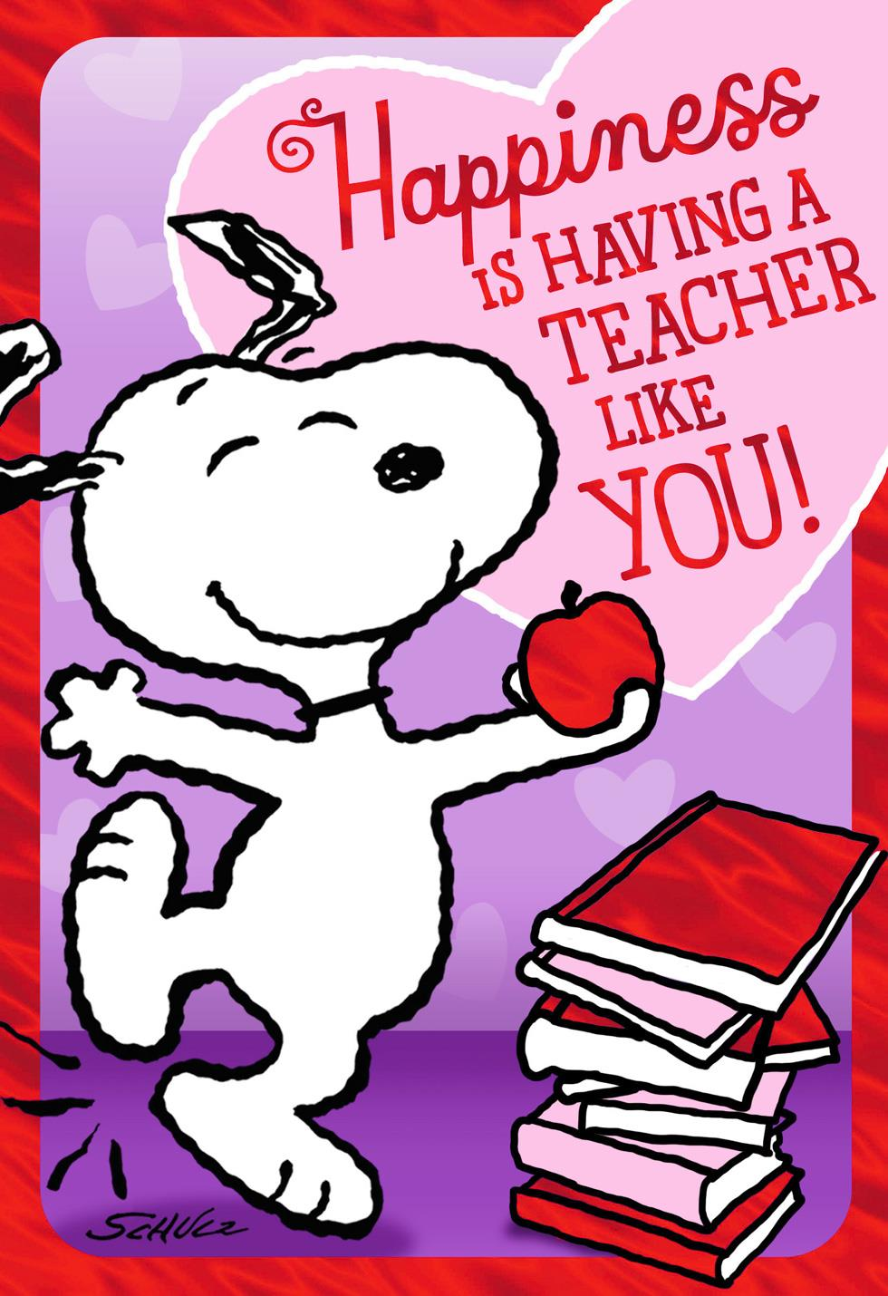 peanuts u00ae dancing snoopy valentine u0026 39 s day card for teacher - greeting cards