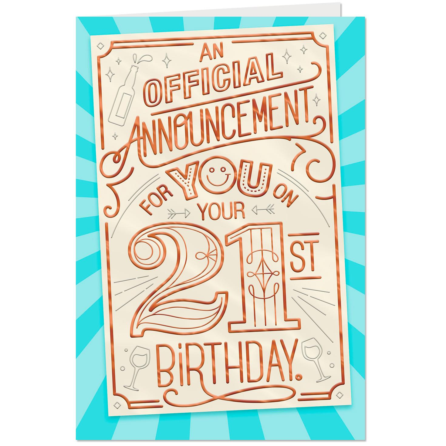 official announcement 21st birthday card  greeting cards