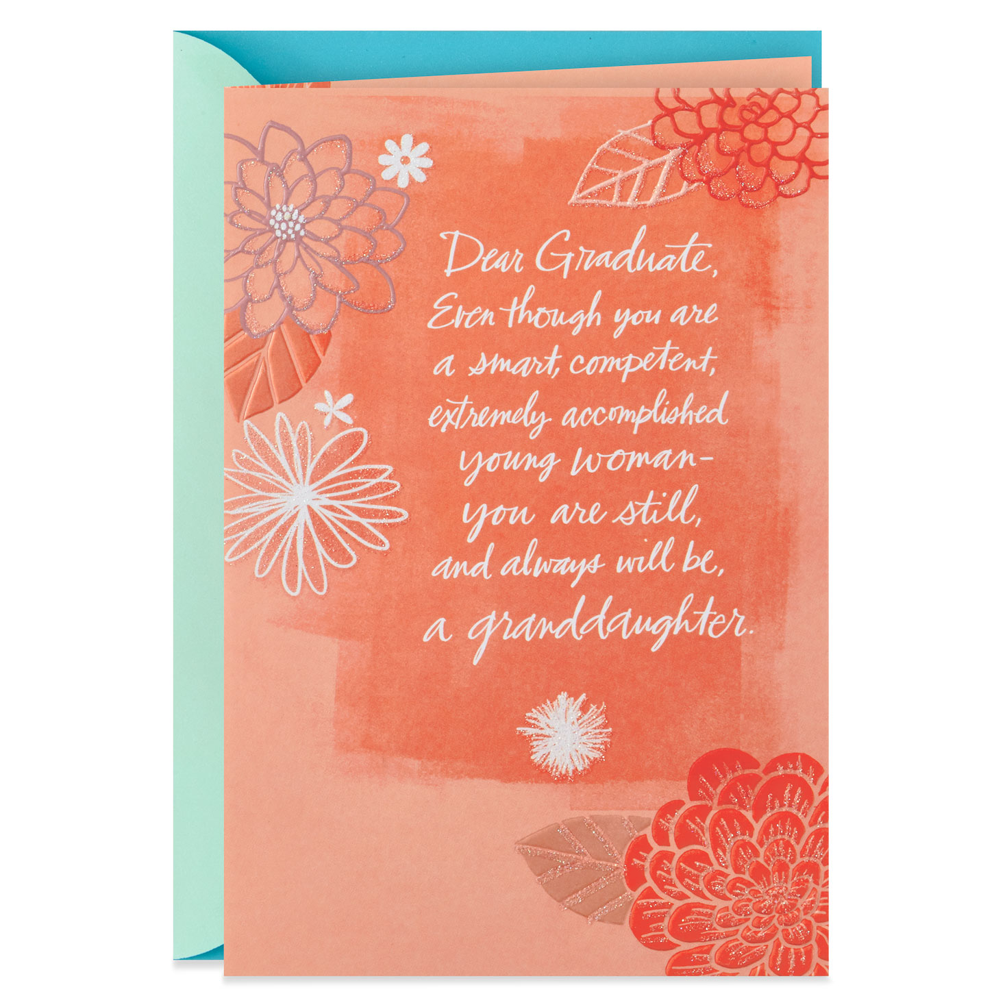 flowers on coral graduation card for granddaughter