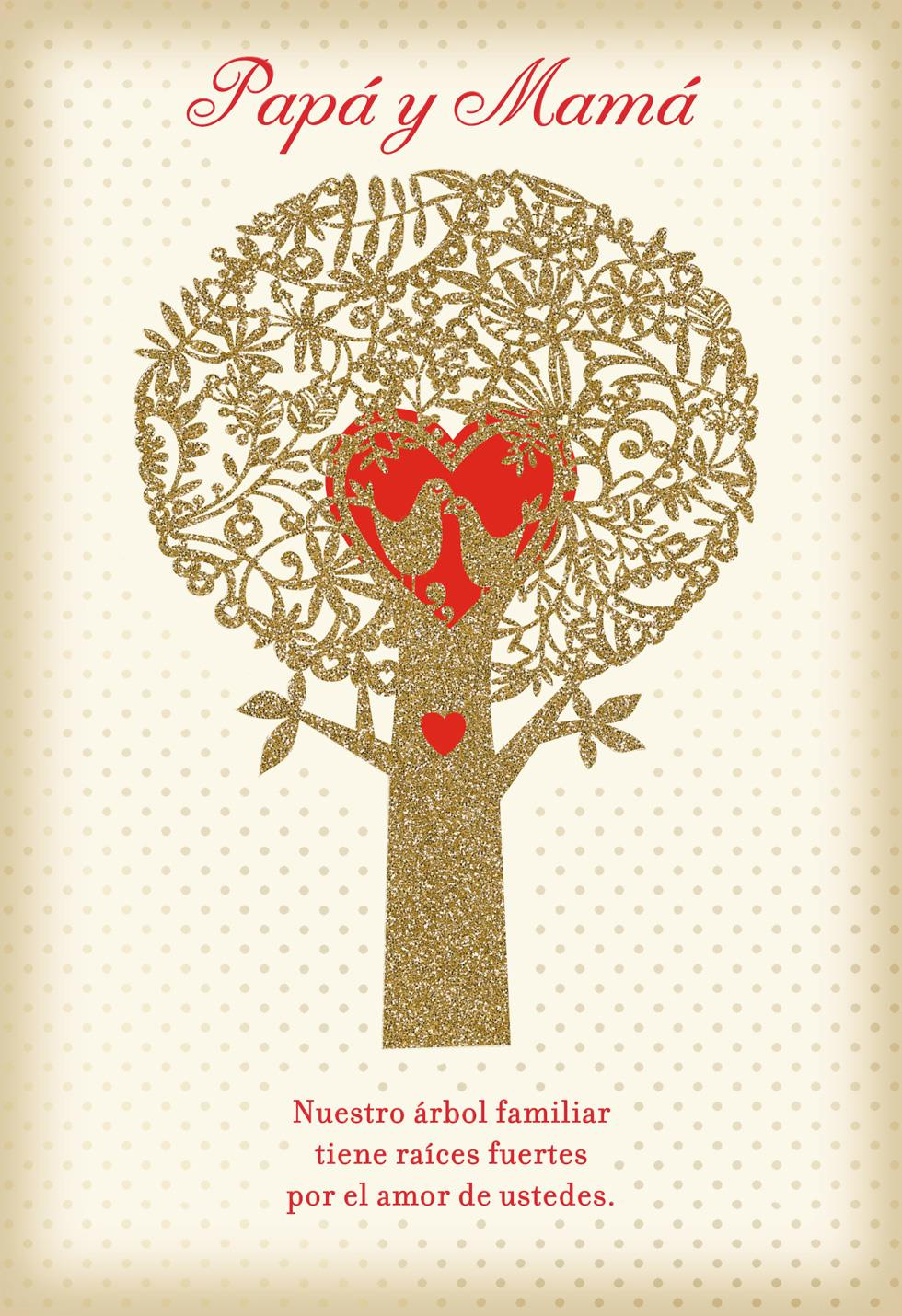 Family Tree Spanish Language Valentines Day Card For