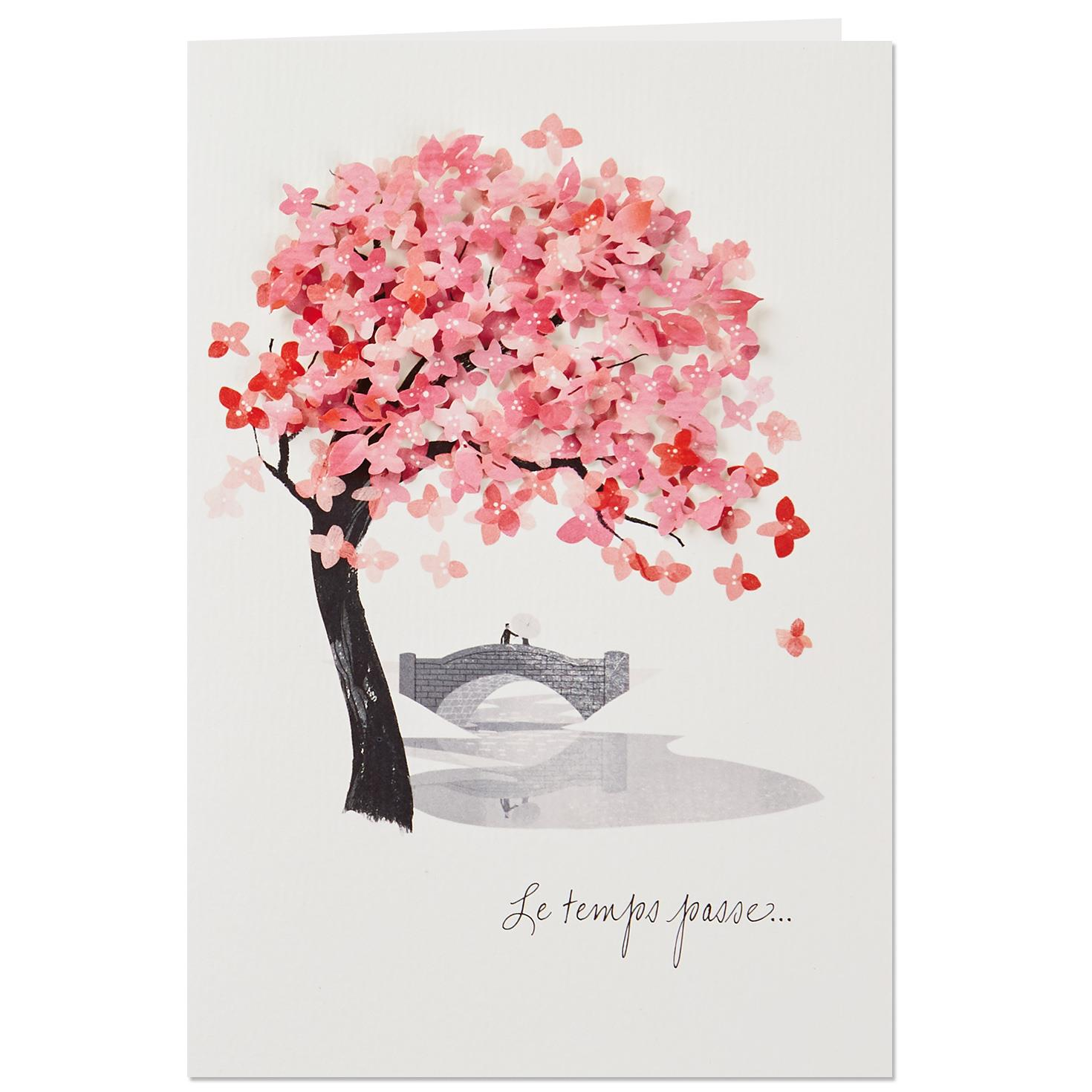 Cherry Blossom Tree French Language Love Card Greeting