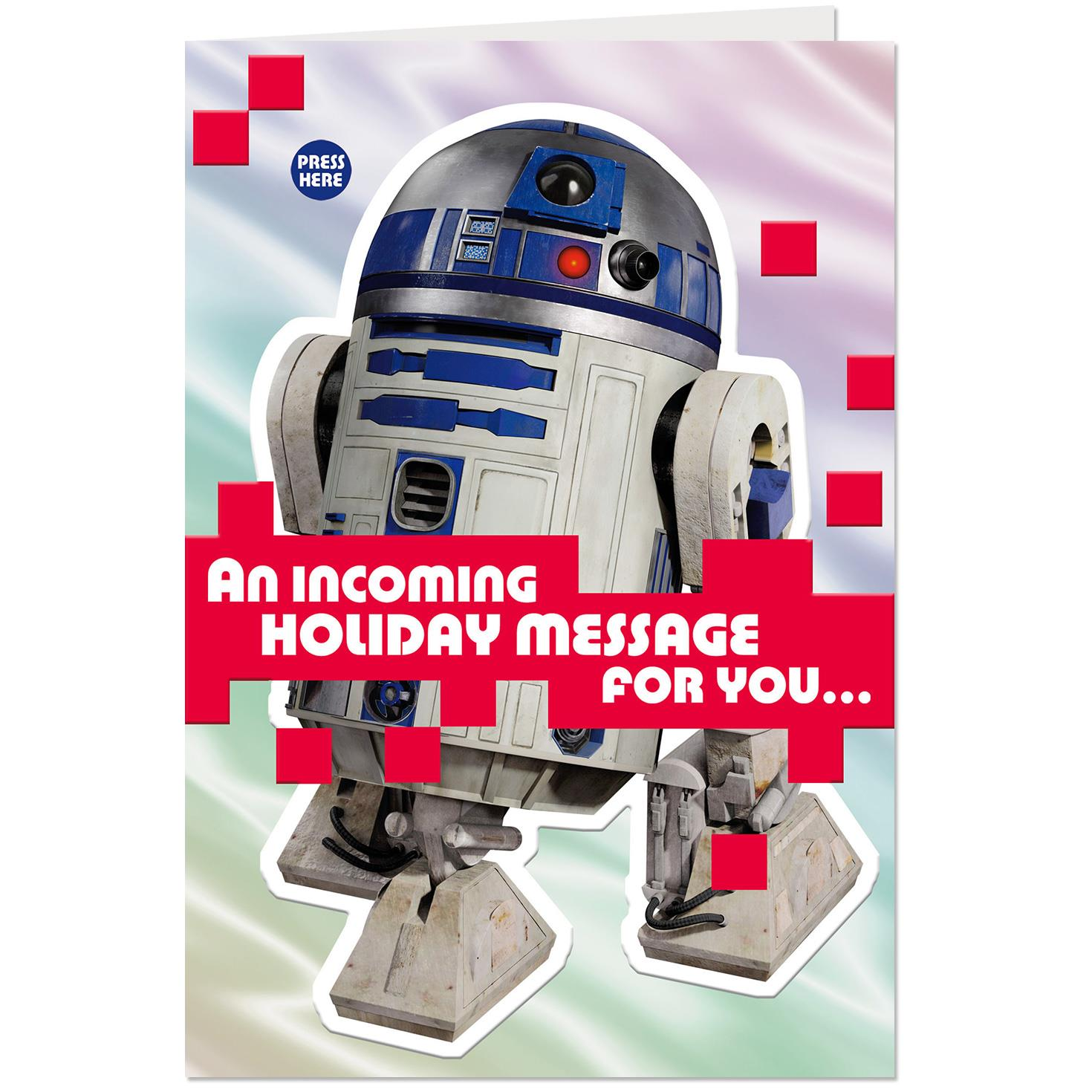 star wars r2 d2 musical christmas card with light