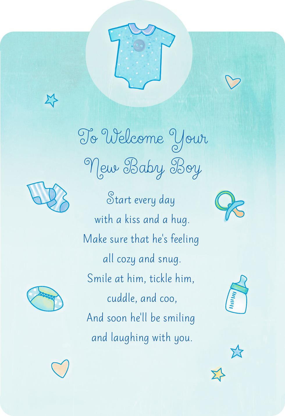 Welcome With A Kiss And Hug New Baby Boy Card Greeting