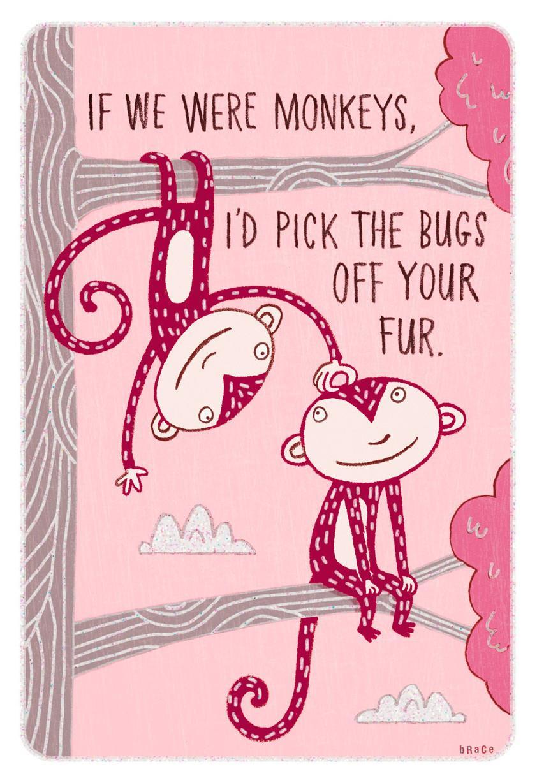 monkey humor valentines day card